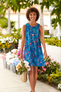 Meghan Dress - Blue Wild Flowers