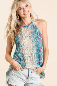 Jade Mermaid Snakeskin Halter Top