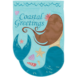 Mermaid Coastal Greetings Flag - Large