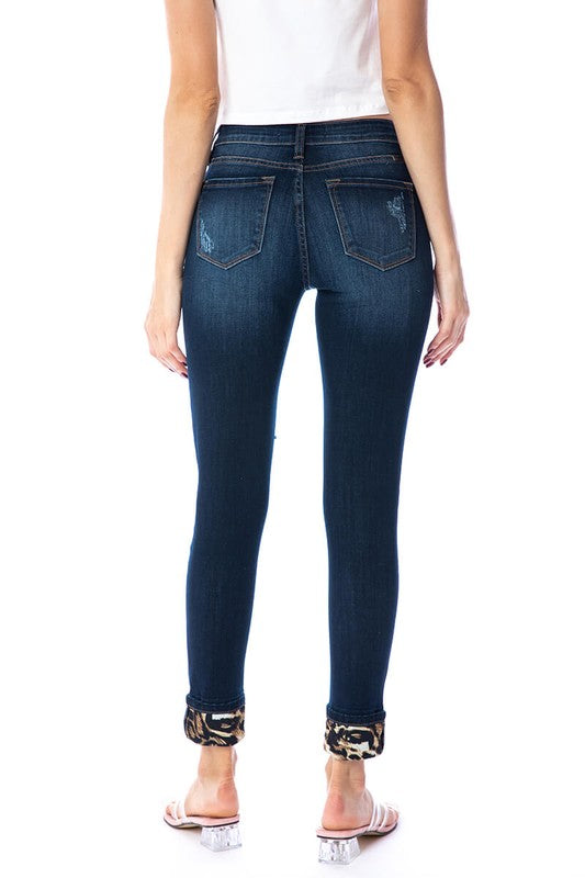 Mid Rise Leopard Patch Super Skinny Jeans