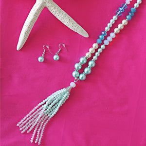 Mint Pearl Necklace & Earring Set