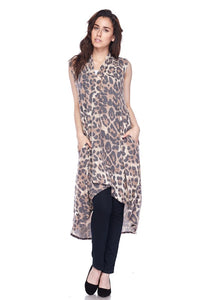 Muted Leopard Long Cardigan