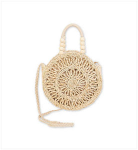 Natural Cornhusk Round Cross Body