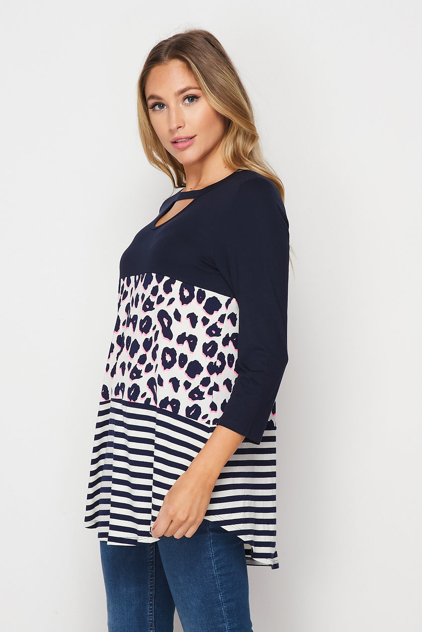Nautical Navy Leopard Top