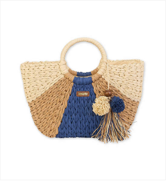 Navy Paperstraw Shoulder Tote