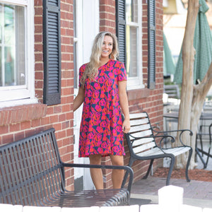 Navy Tulip A-Line Dress