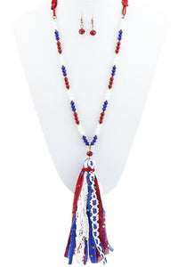 Patriotic Tassel Necklace & Earring Set