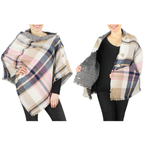 Plaid Double Sided Poncho - Available in 3 Colors!