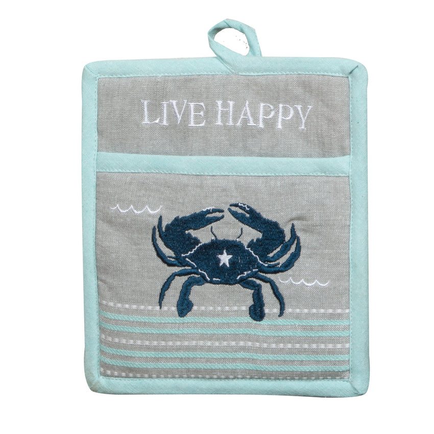 Live Salty Crab Embroidered Pocket Mitt
