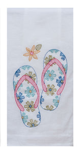 Summer Fun Embroidered Flour Sack Towel