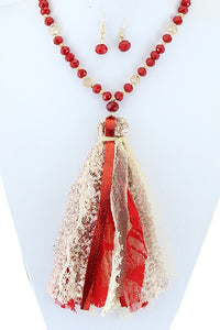 Red Tassel Necklace & Earring Set
