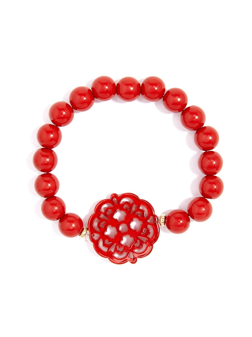 Allure Resin Charm Beaded Bracelet - Available in 13 Colors