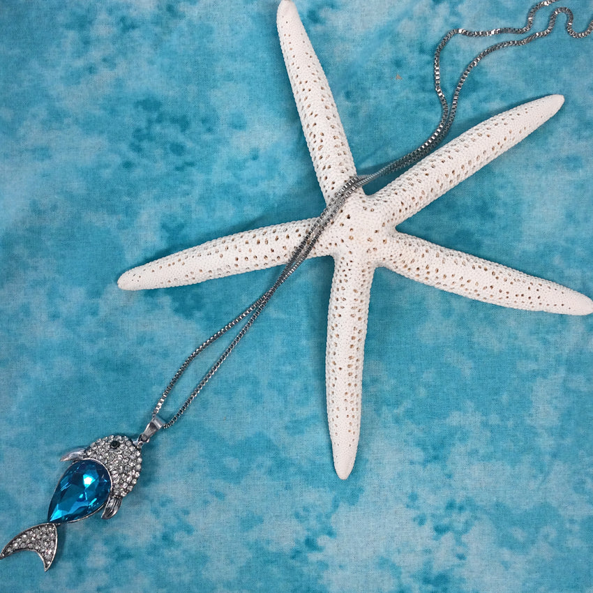 Rhinestone Fish Necklace