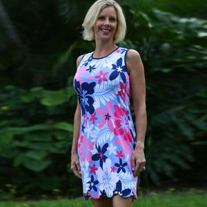 K!K! Reversible Ladies Dress Beguiled Hibiscus Flower