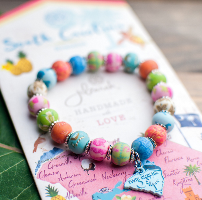 South Carolina Clay Beaded Bracelet