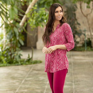 Deep Sangria Twist Silky Tunic