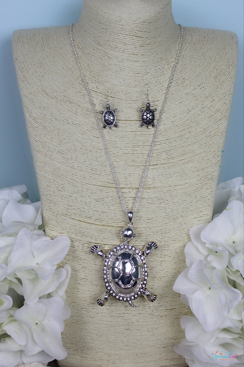 Silver Turtle Necklace and Earring Set