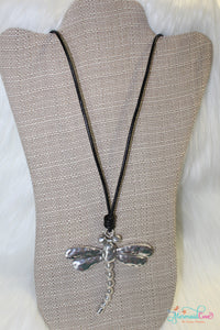 Silver Dragonfly Cord Necklace