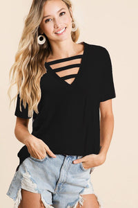 Strapped Up V-Neck Top - Available in 3 Colors!