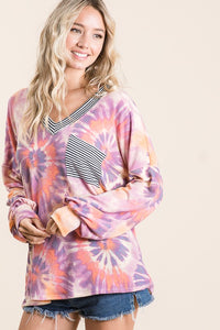 Swirls & Stripes Tie Dye Top - Pink