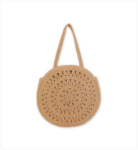 Tan Crochet Shoulder Tote