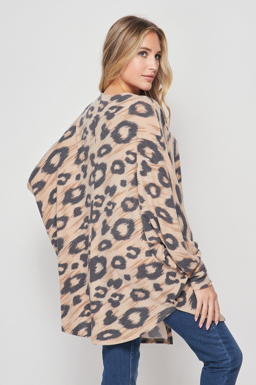 Taupe Animal Print Cardigan