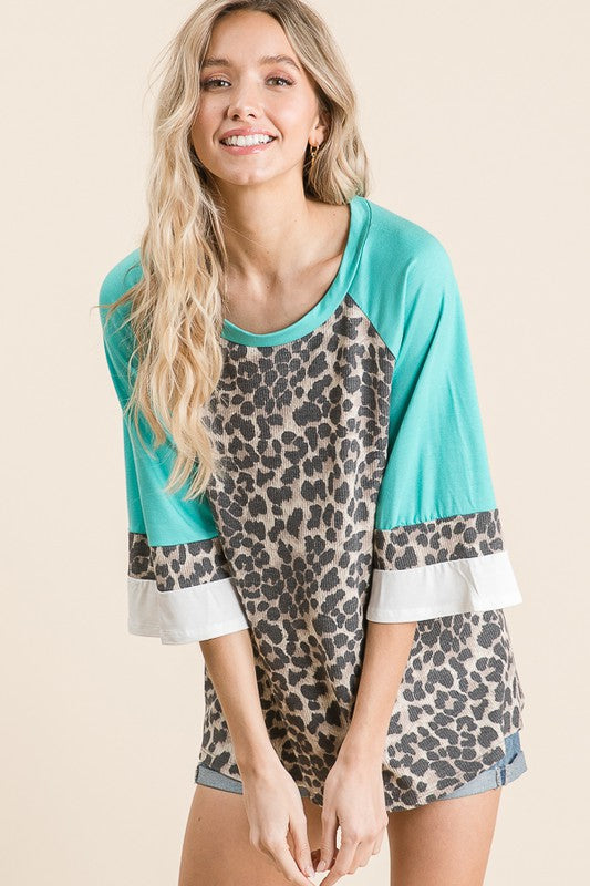 Totally Teal Leopard Top