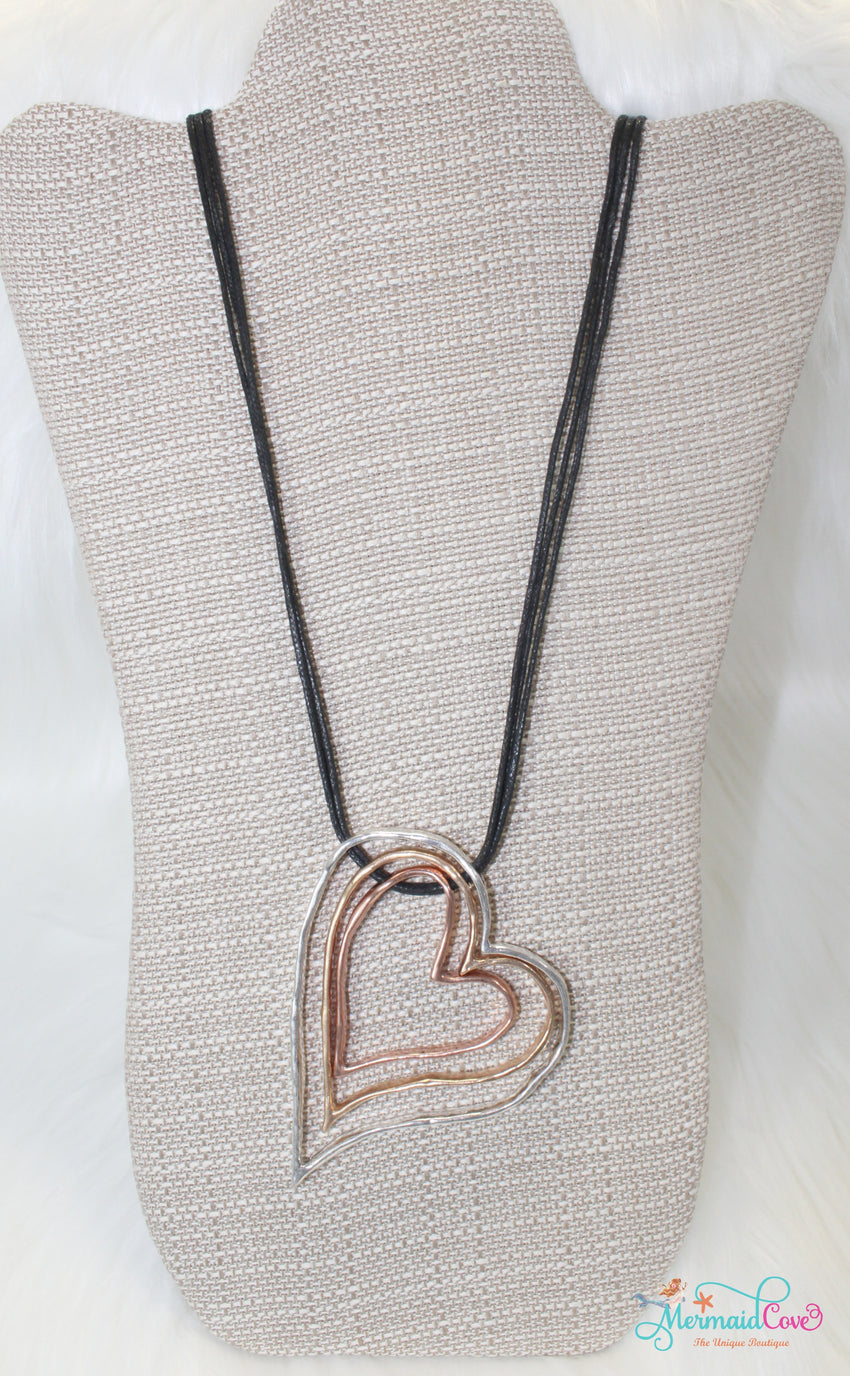 Tri-Tone Heart Necklace