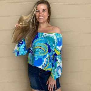 Perfect Paisley Peasant Top in Turquoise