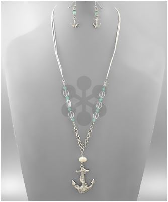 Turquoise and Pearl Anchor Necklace