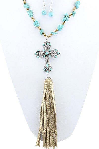 Turquoise Cross Tassel Necklace & Earring Set