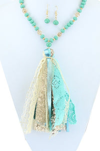 Turquoise Tassel Necklace & Earring Set