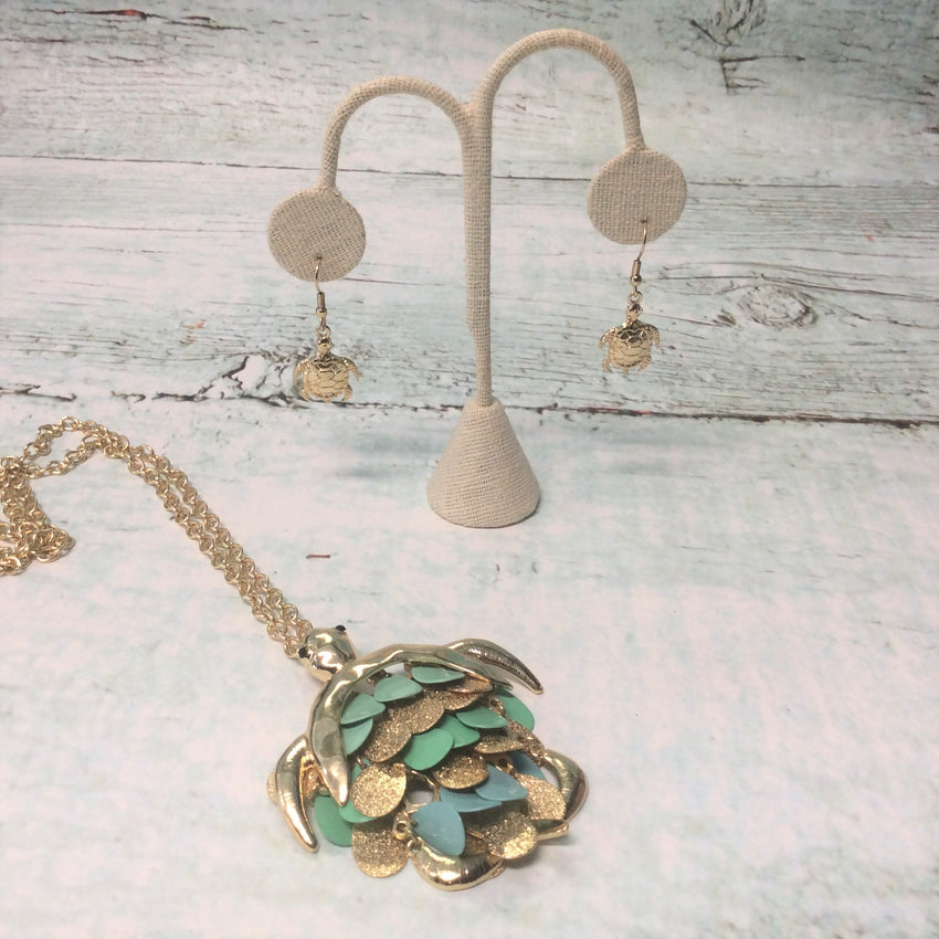 Turtle Love Necklace & Earring Set