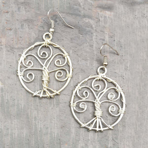Twisted Tree of Life Earrings - Silver