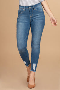 Wannabettabutt Mid-Rise Distressed Jeans- Dark Wash