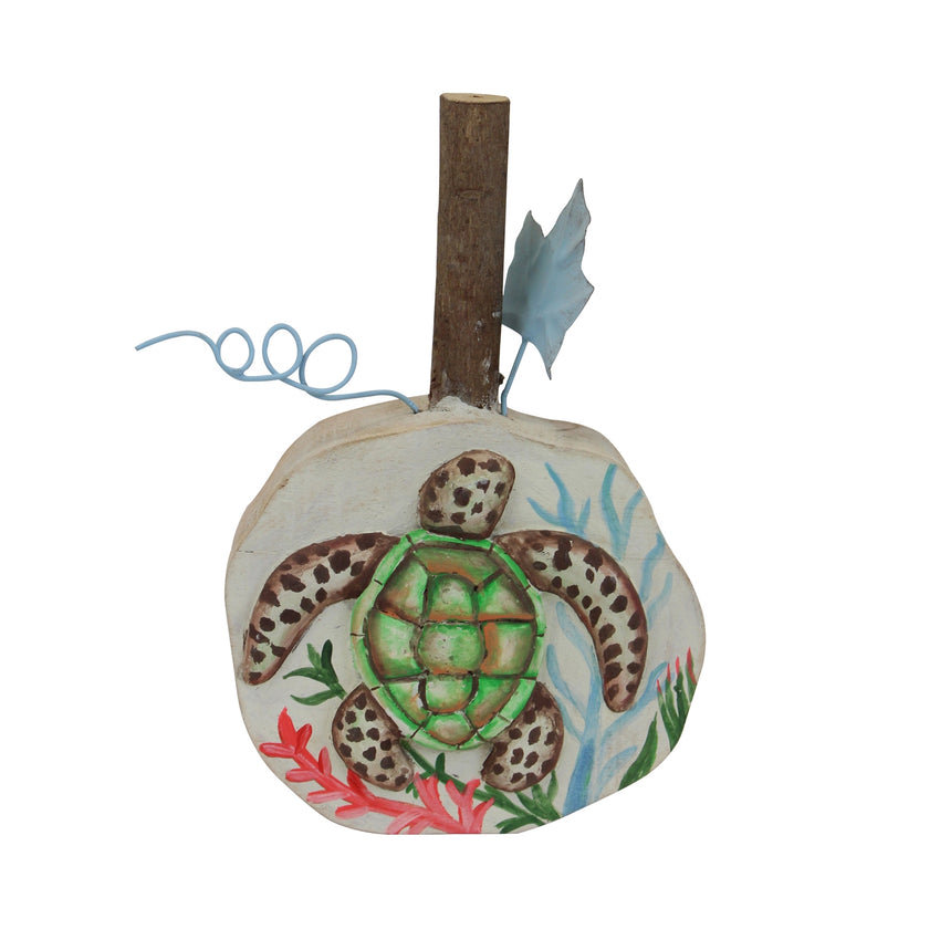 Nautical Wood Block with Turtle