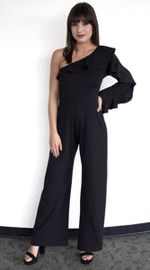 Jasmine Ruffled Shoulder Jumpsuit  - Available in 2 Colors!