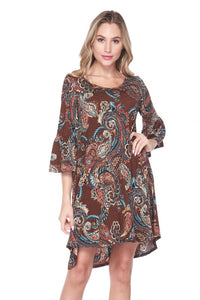 Chocolate Paisley Dress- FINAL SALE