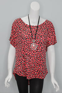 Coral Rose Leopard Tunic Top