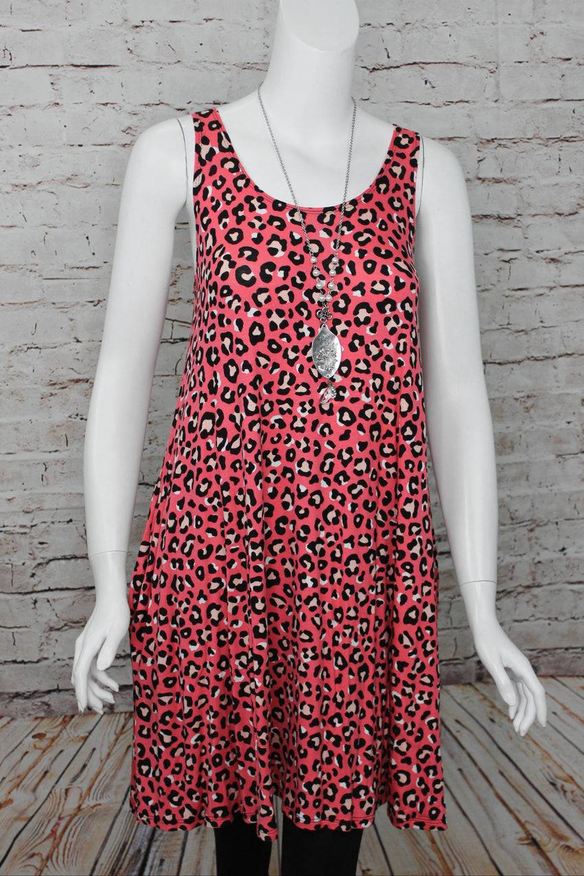 Coral Rose Leopard Tunic Dress
