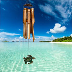 Half Coconut Bamboo Chime - Medium, Sea Turtle