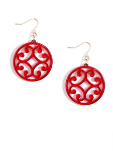 Circle Scroll Drop Earrings
