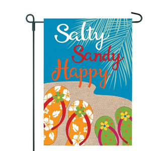 Sandy, Salty, Happy Garden Flag