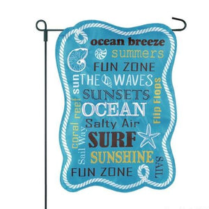 Coastal Typography Garden Flag