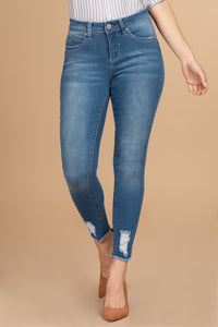 Wannabettabutt Mid-Rise Distressed Jeans- Light Wash