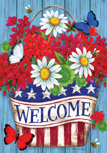 Patriotic Flowers Garden Flag