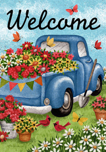 Flower Truck Welcome Garden Flag