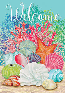 Coral and Seashells Welcome Garden Flag