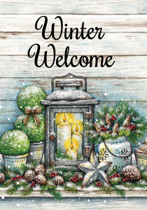 Warm Winter Welcome Garden Flag