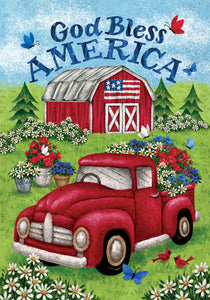 Truck and Barn Garden Flag